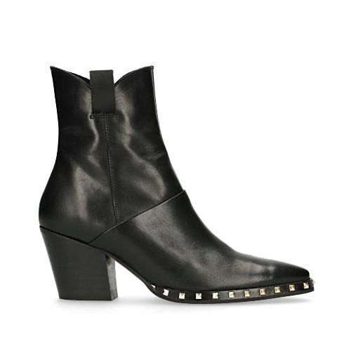 Zwarte leren korte laarzen met studs