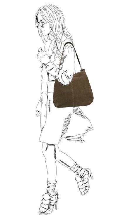 Donkergroene shopper met detail