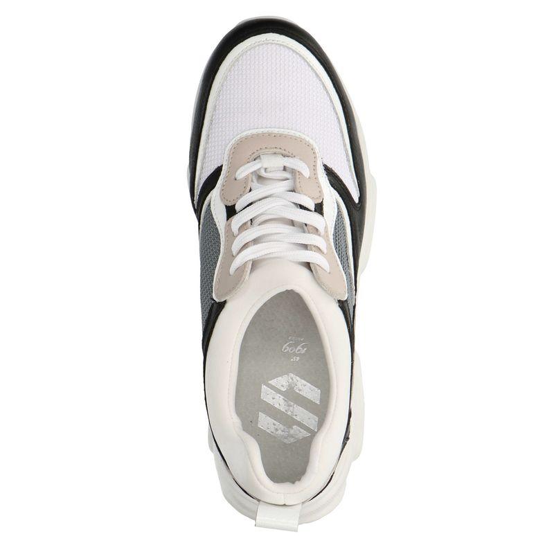 Suède dad sneakers wit/nude