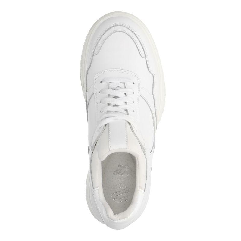 Witte leren dad sneakers met platform