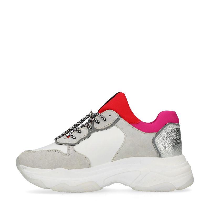 Bronx witte leren dad sneakers roze/rood