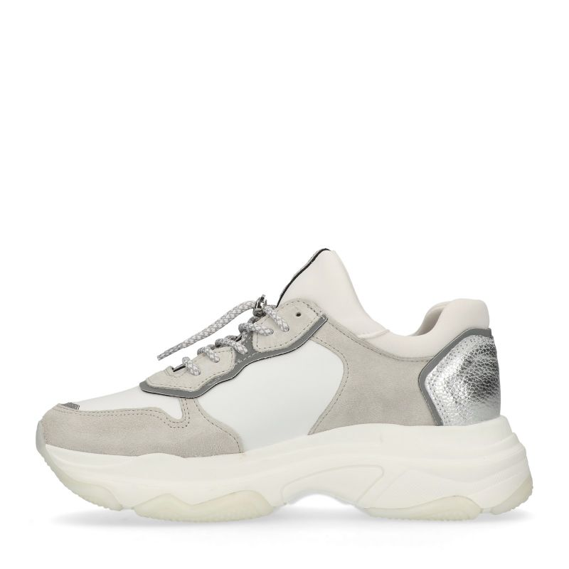 Bronx witte leren dad sneakers