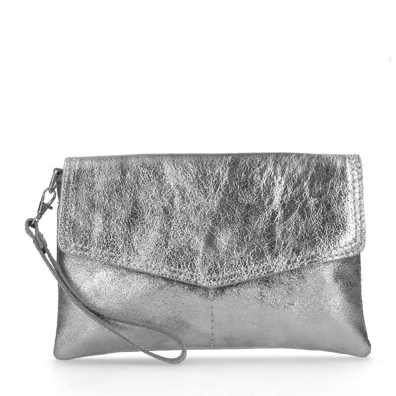 Metallic zilveren clutch