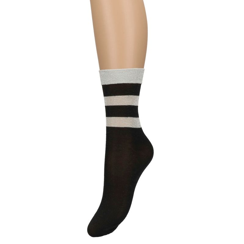 Zwarte glitter sokken met zilveren strepen