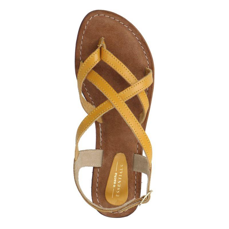 Gele sandalen met gekruiste banden