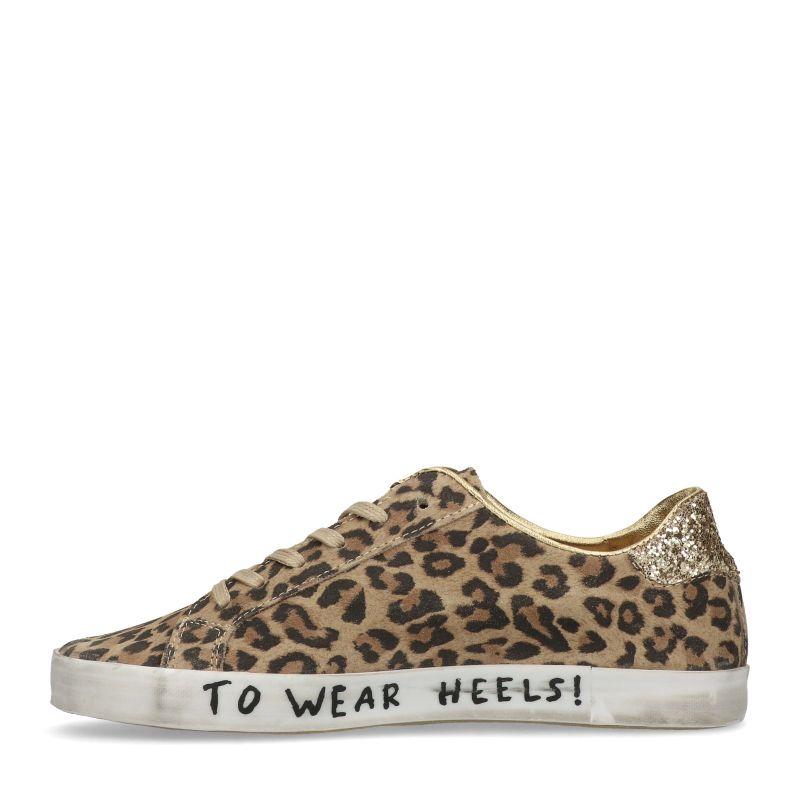 Bruine luipaard print sneakers met details