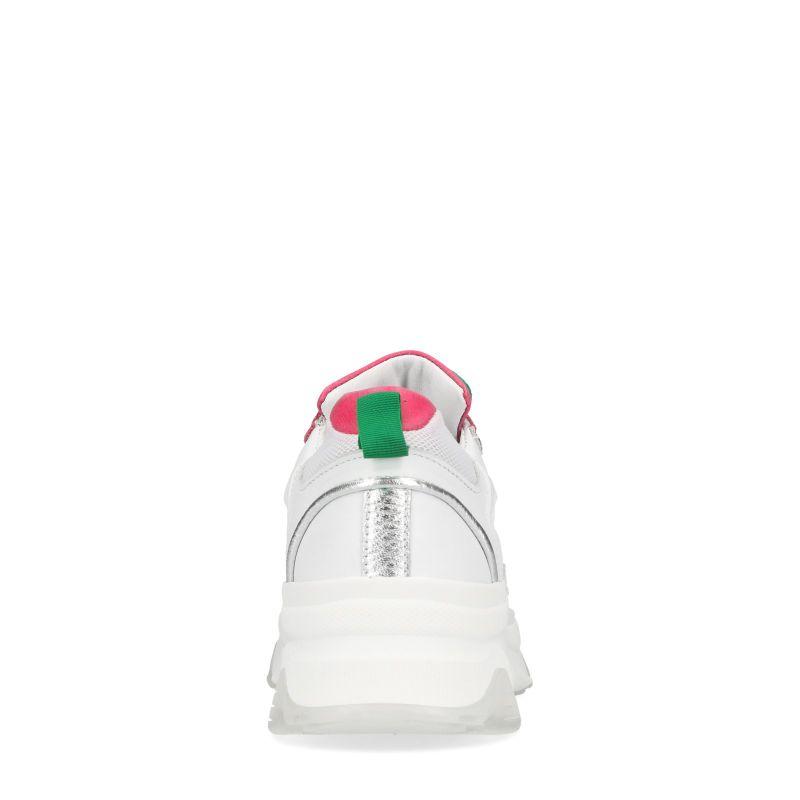 Witte dad sneakers met roze en groene details