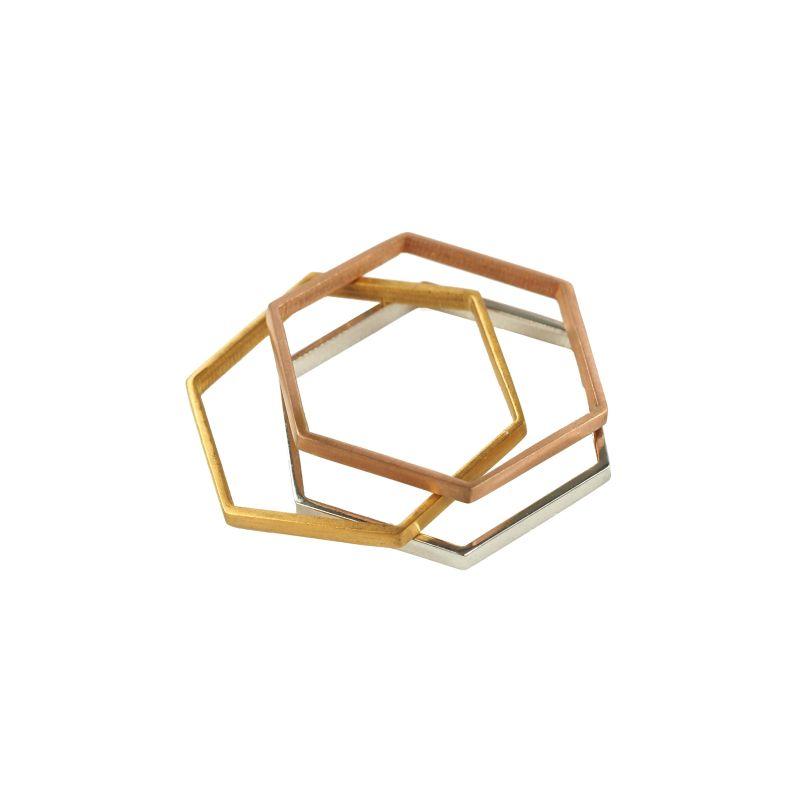 LUZ - Ensemble de bagues hexagone