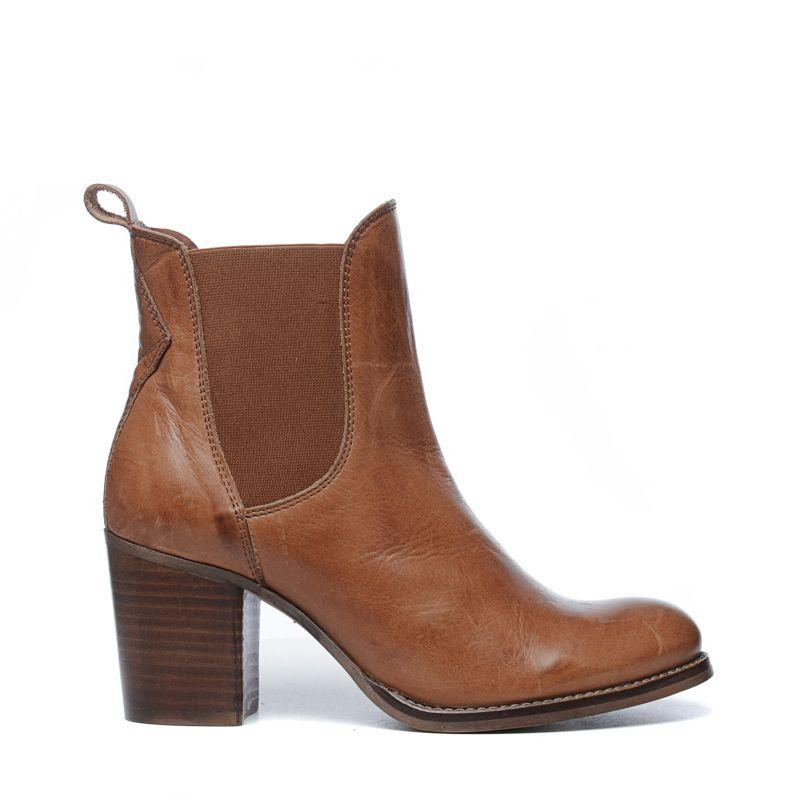 chelsea boots mit blockabsatz cognac damenschuhe. Black Bedroom Furniture Sets. Home Design Ideas