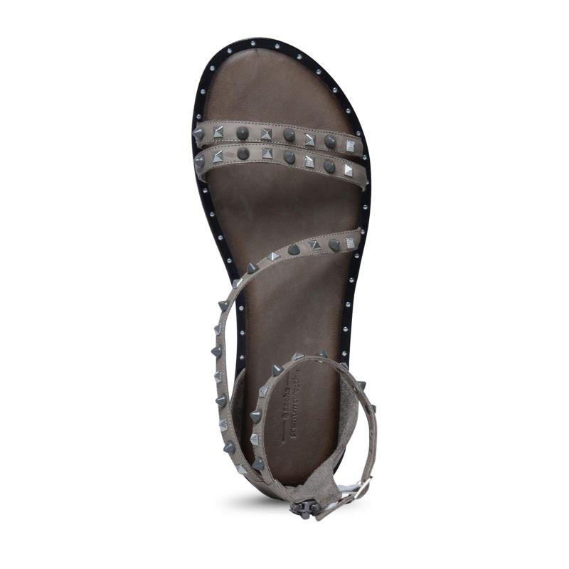 graue sandalen mit nieten damenschuhe. Black Bedroom Furniture Sets. Home Design Ideas