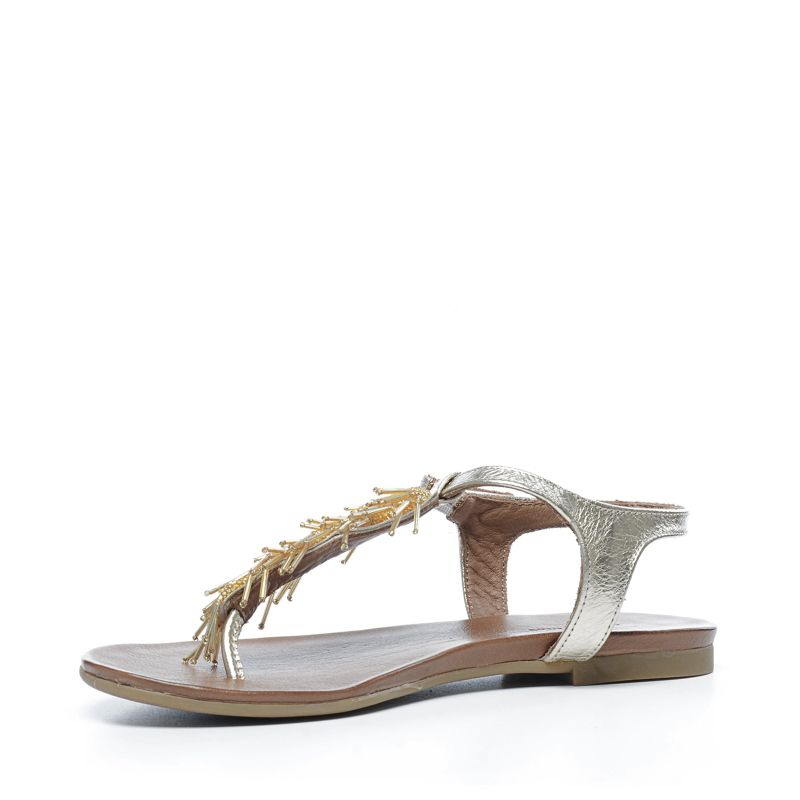 goldene sandaletten mit perlen damenschuhe. Black Bedroom Furniture Sets. Home Design Ideas