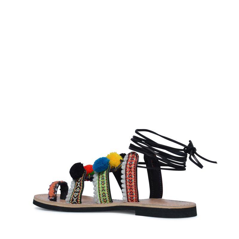 Sandales Pompon Noir Femmes