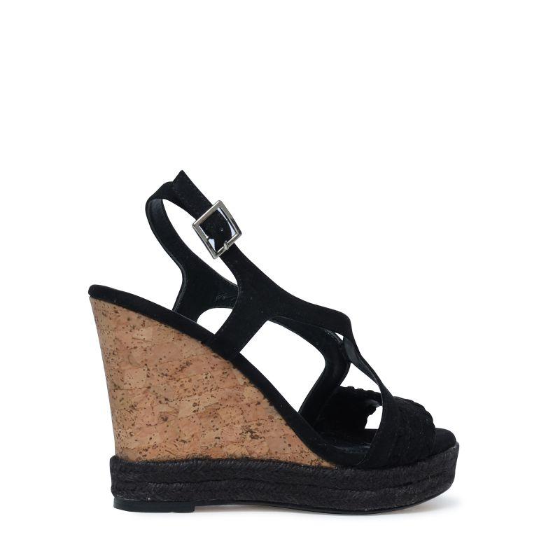sandales talon compens noir femmes. Black Bedroom Furniture Sets. Home Design Ideas
