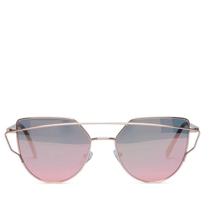 Lunettes de soleil avec verres miroir rose dor for Lunettes verre miroir