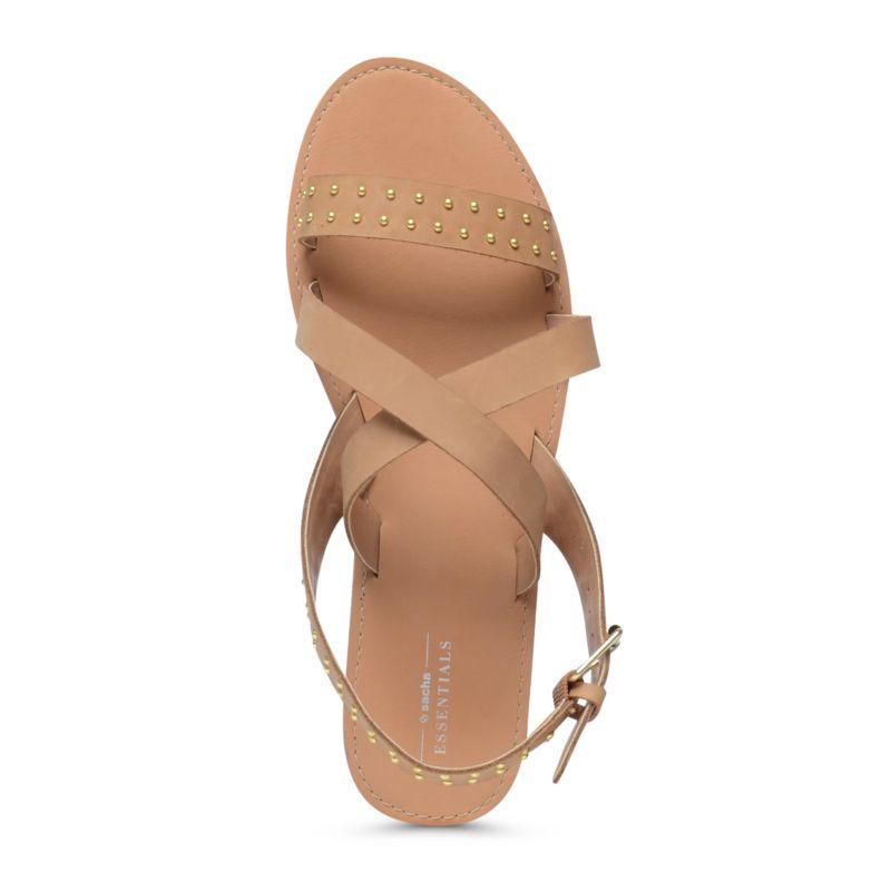 Cognac kleurige sandalen met gouden details      Damesschoenen      35 00      Sacha nl