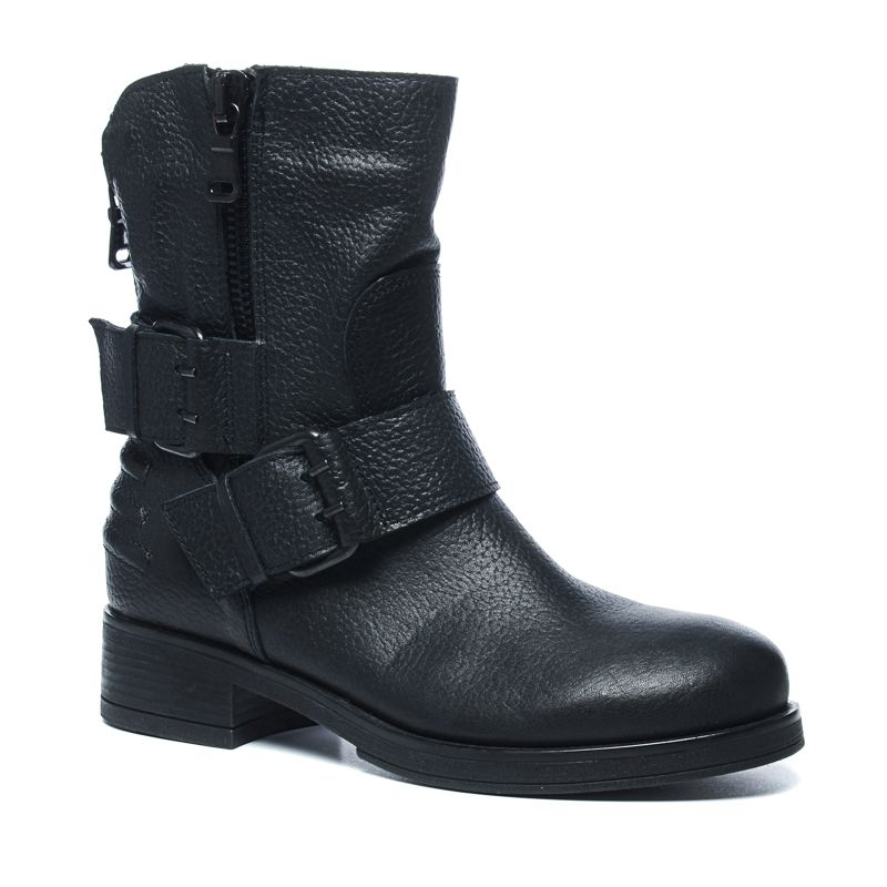 schwarze biker boots mit schnallen damenschuhe sacha. Black Bedroom Furniture Sets. Home Design Ideas