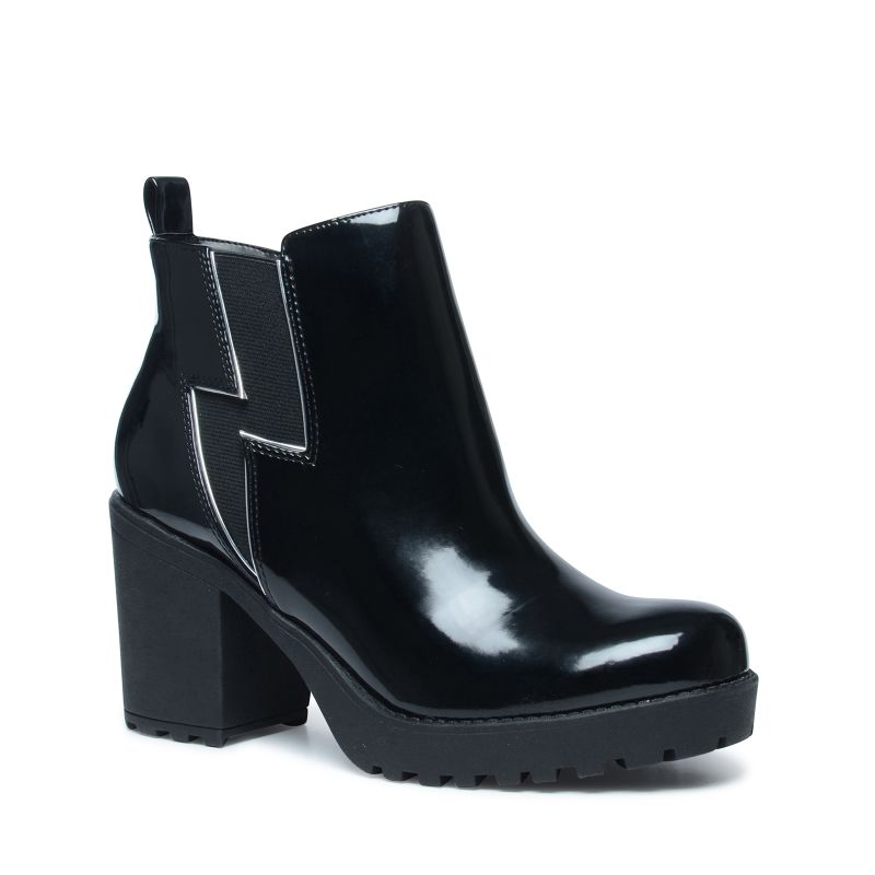 steve madden schwarze chelsea boots aus lack. Black Bedroom Furniture Sets. Home Design Ideas