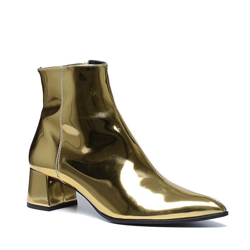 paco gil metallic goldene stiefeletten damenschuhe. Black Bedroom Furniture Sets. Home Design Ideas