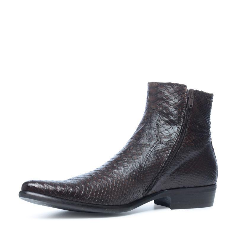 braune boots mit schlangenmuster herrenschuhe. Black Bedroom Furniture Sets. Home Design Ideas