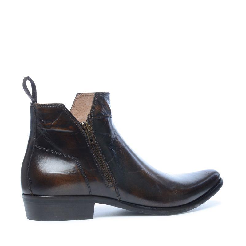 braune leder boots mit zier rei verschluss herrenschuhe. Black Bedroom Furniture Sets. Home Design Ideas