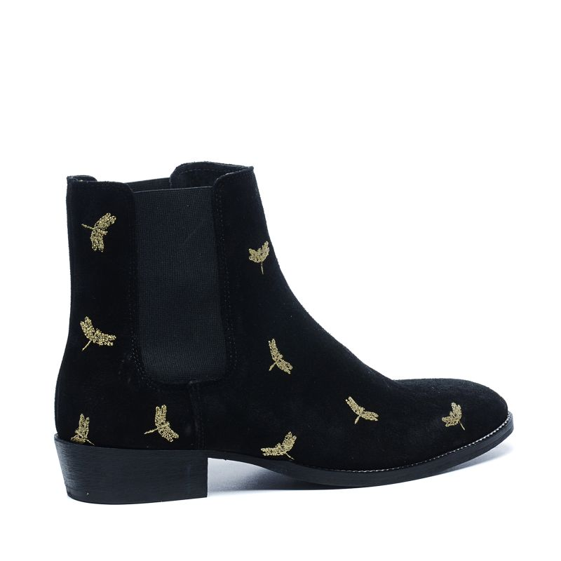 schwarze chelsea boots mit goldenem muster herrenschuhe. Black Bedroom Furniture Sets. Home Design Ideas
