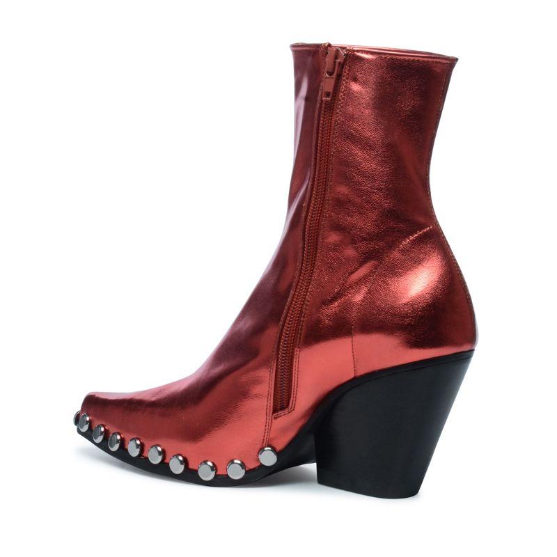 jeffrey campbell kurze metallic rote stiefel mit nieten. Black Bedroom Furniture Sets. Home Design Ideas