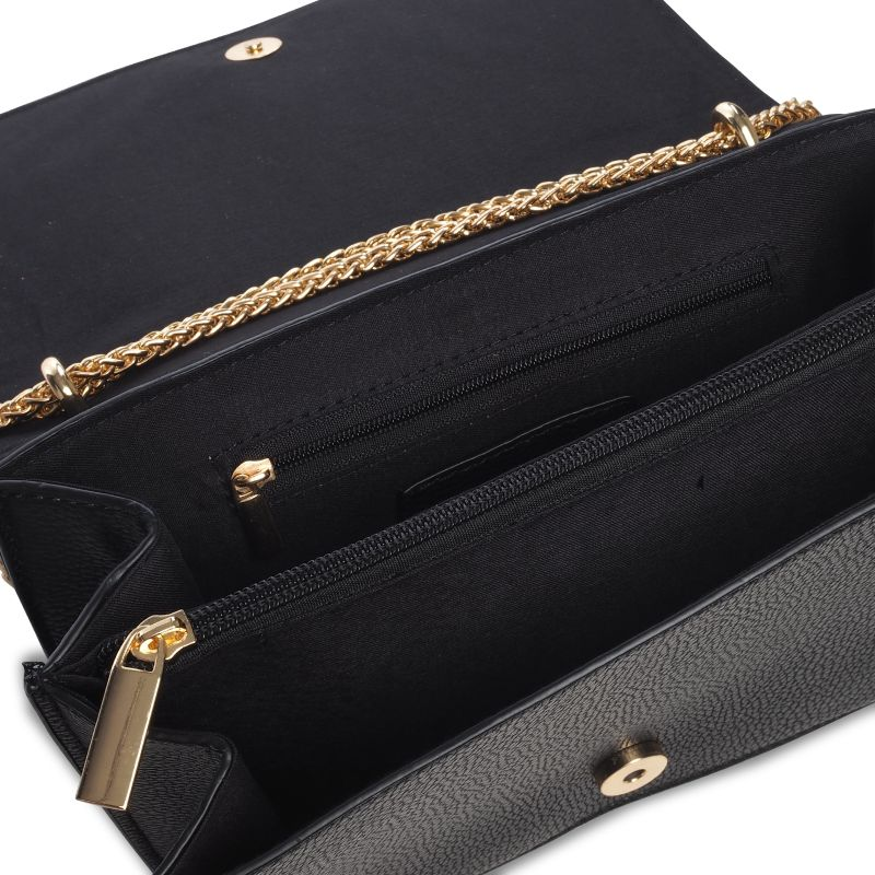 Schoudertas Zwart Ketting : Zwarte schoudertas met gouden ketting tassen