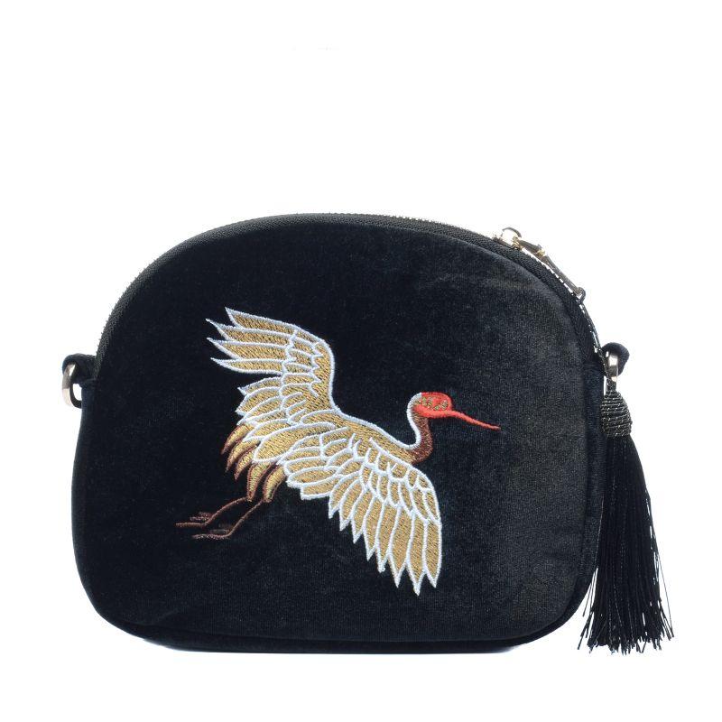 Petit sac bandouli re avec oiseau brod noir sacs sacha for Petit oiseau avec houpette