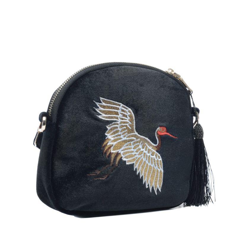 Schoudertasje met franjes : Zwarte schoudertasje met vogel embroidery tassen