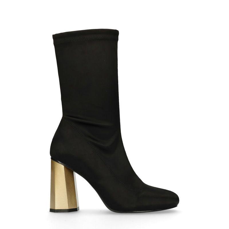 schwarze sock boots mit goldenem absatz damenschuhe sacha. Black Bedroom Furniture Sets. Home Design Ideas
