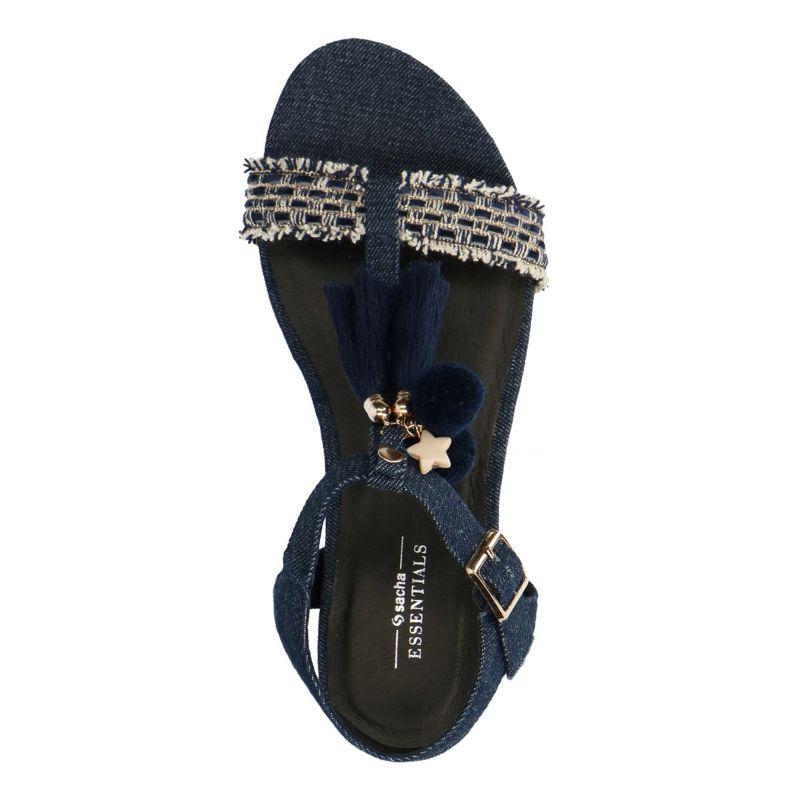 sandales franges jean femmes sacha. Black Bedroom Furniture Sets. Home Design Ideas