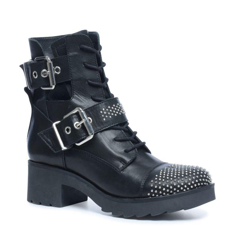 biker boots mit nieten und schnallen damenschuhe sacha. Black Bedroom Furniture Sets. Home Design Ideas