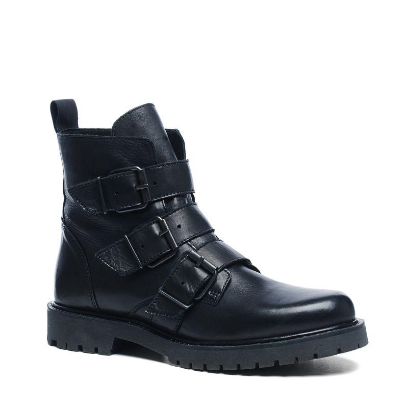 schwarze biker boots mit schnallen damenschuhe 119. Black Bedroom Furniture Sets. Home Design Ideas