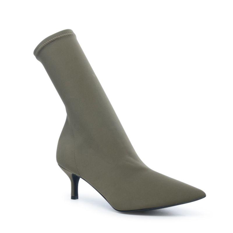bottines chaussettes petit talon kaki femmes sacha. Black Bedroom Furniture Sets. Home Design Ideas