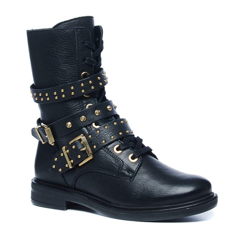 schwarze biker boots mit schnallen und goldenen akzenten. Black Bedroom Furniture Sets. Home Design Ideas