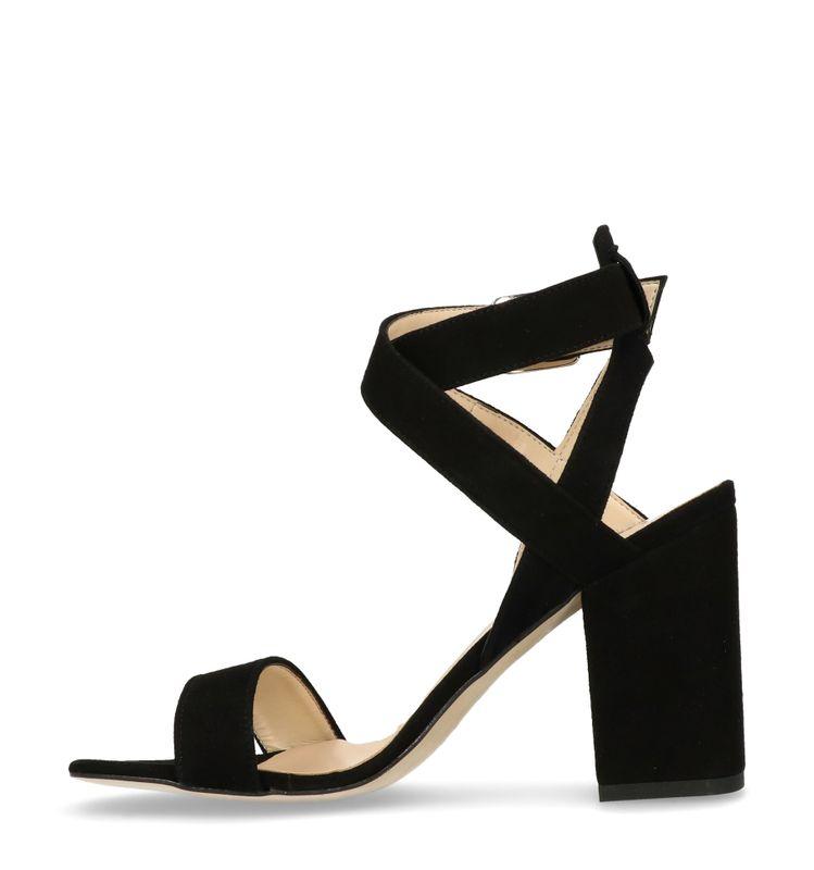 schwarze veloursleder sandaletten mit blockabsatz. Black Bedroom Furniture Sets. Home Design Ideas