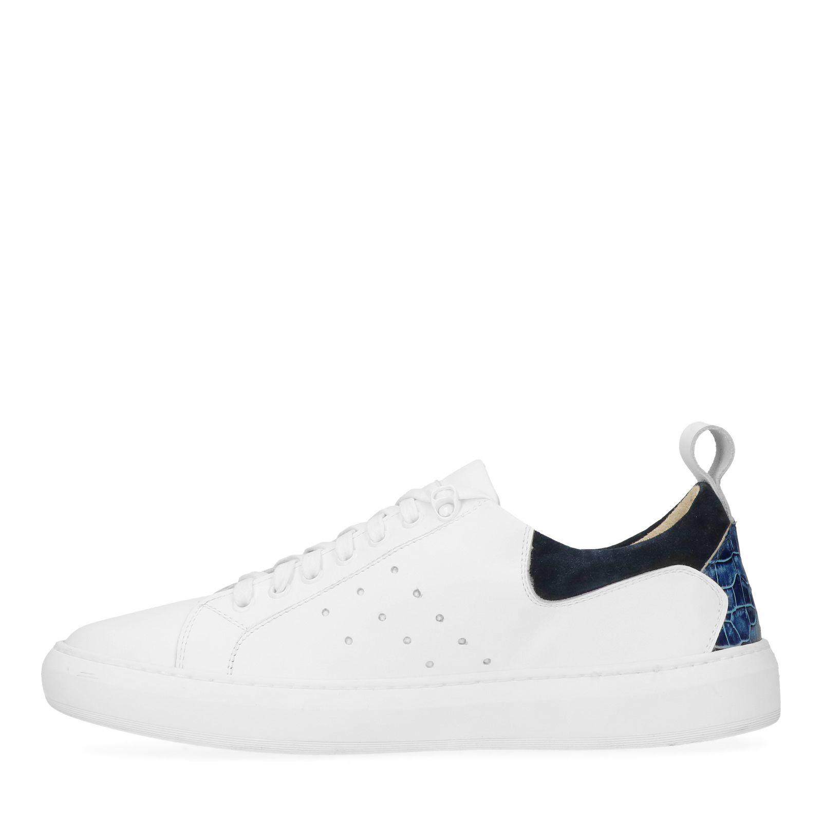 Weiße Leder Sneaker mit blauen Akzenten