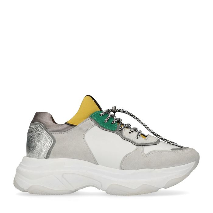 Bronx witte leren dad sneakers groen/geel