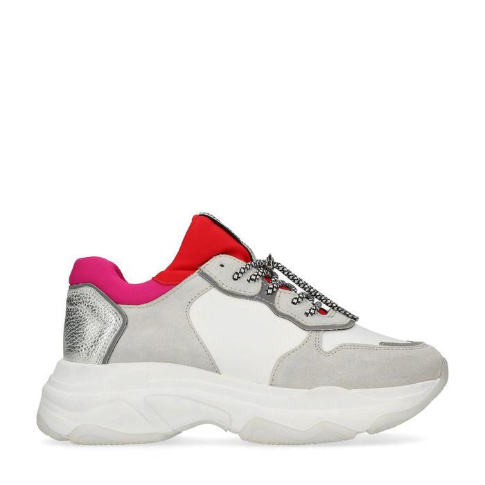 Bronx Dad shoes en cuir avec détails rose/rouge - blanc