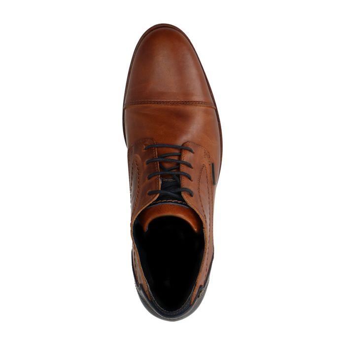 Braune Schnürschuhe mit blauen Details