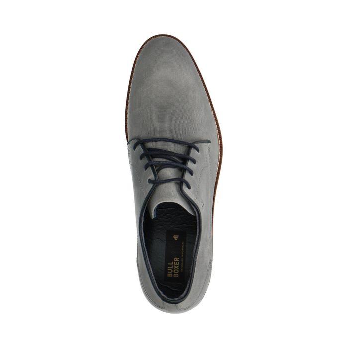 Graue Leder-Schnürschuhe