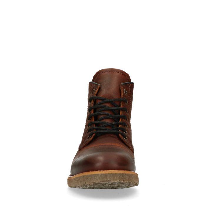 Boots à lacets avec semelle grise - cognac