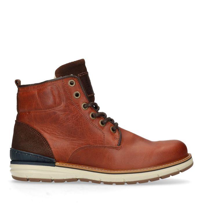 Boots à lacets en cuir avec fausse fourrure - marron