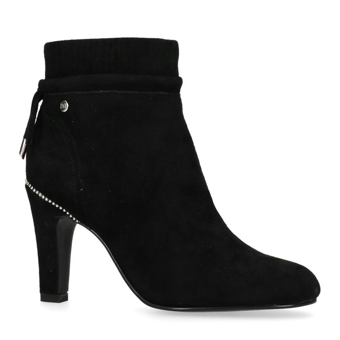 Bottines à talon en nubuck - noir