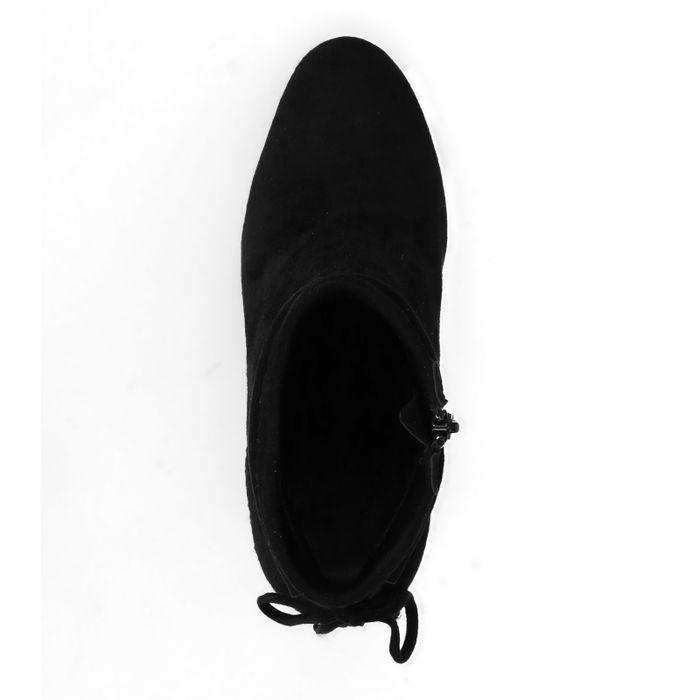 Schwarze Nubuk-Stiefeletten mit Absatz