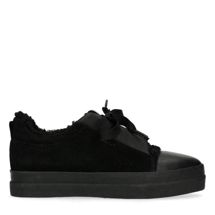 GANT Amanda zwarte lage sneakers met imitatiebont