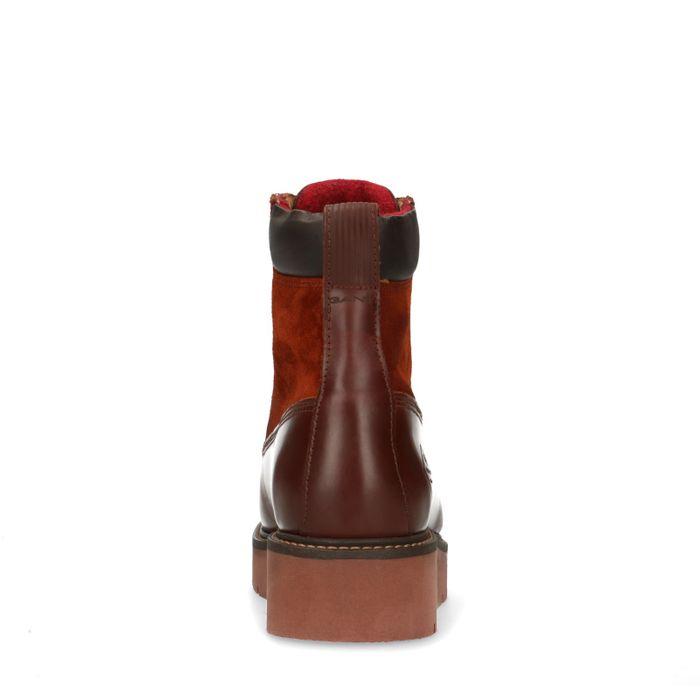 GANT dunkelbraune Leder-Schnürstiefeletten