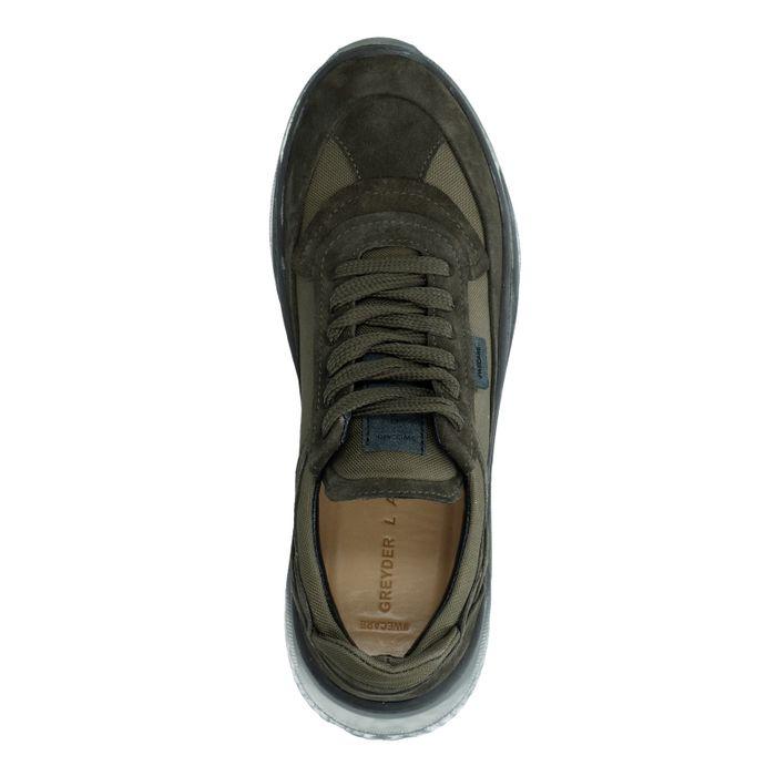 Kaki Veloursleder-Sneaker