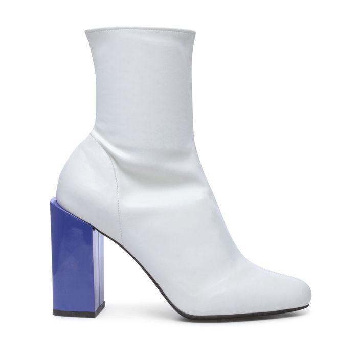 Jeffrey Campell weiße Stiefeletten mit verschiedenfarbigem Absatz