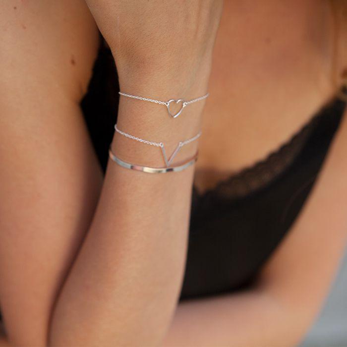 LUZ - Bracelet en V - argent